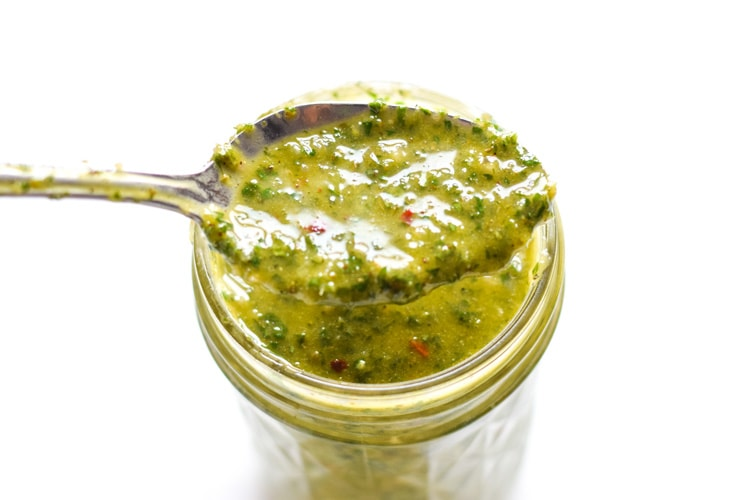This Mexican Chimichurri Sauce Recipe is made with fresh and simple ingredients from the garden and is ready in under 10 minutes! (gluten free, low carb, paleo, vegetarian, vegan)
