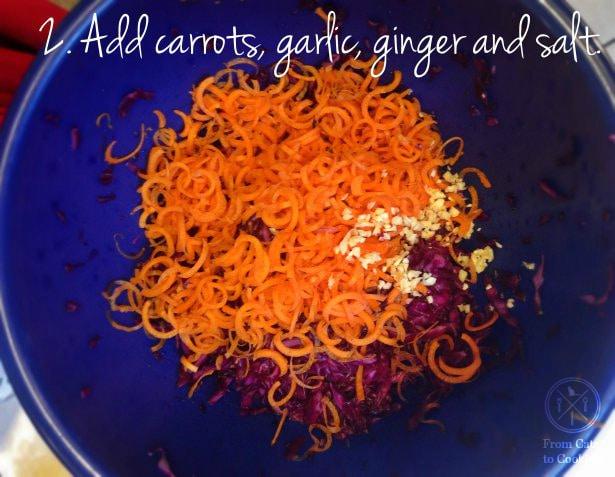 2. Add carrots, garlic, ginger and salt.