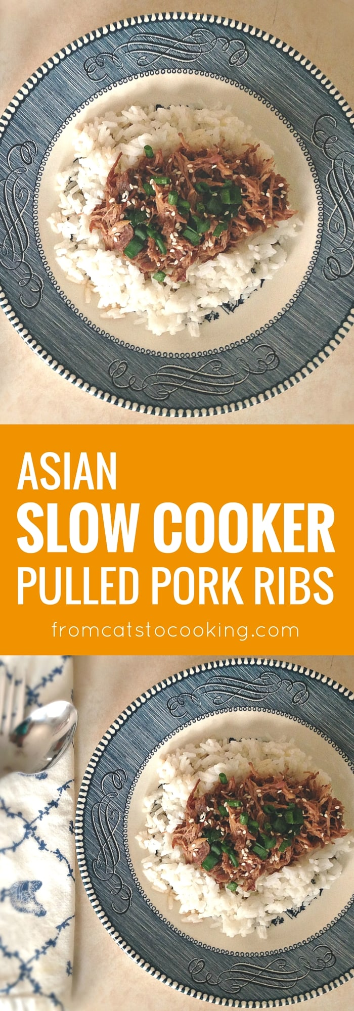 Asian Slow Cooker Pulled Pork Ribs recipe. This is perfect for dinner and makes awesome leftovers for lunch the next day. Is gluten-free and paleo as well!