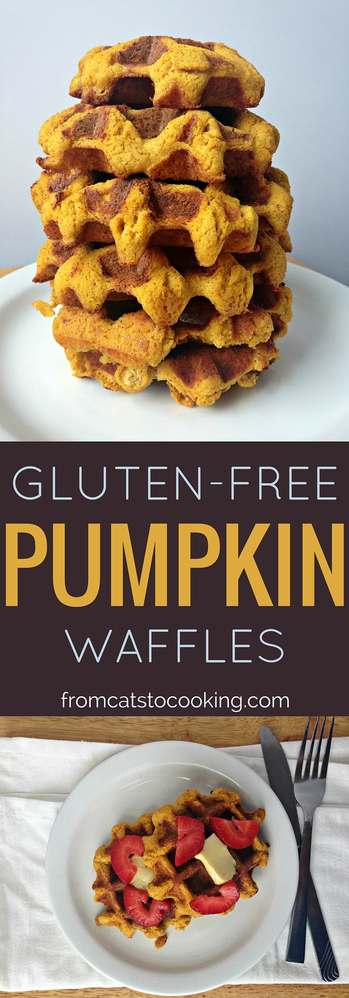 Gluten-free Pumpkin Waffles Recipe. Great for breakfast and brunch! Dairy-free, Gluten-free, Paleo| fromcatstocooking.com