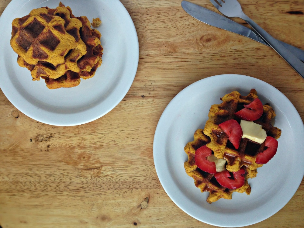 Gluten-free Pumpkin Waffles Recipe. Great for breakfast and brunch! Dairy-free, Gluten-free, Paleo