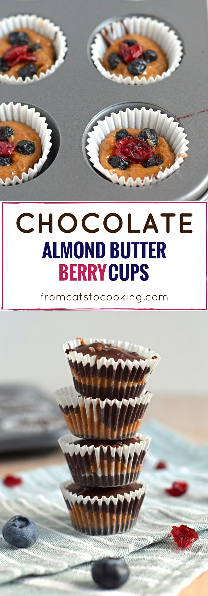 Chocolate Almond Butter Berry Cups topped with sea salt - no added sugar, no bake, dairy free, gluten free, paleo, raw, vegan, vegetarian | isabeleats.com