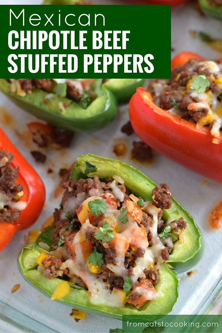 Made with rice, corn and Mexican spices such as cumin, chipotle powder and oregano, this Mexican Chipotle Beef Stuffed Peppers recipe makes the perfect weeknight meal. Better yet, they also make great leftovers for lunch the next day. // isabeleats.com