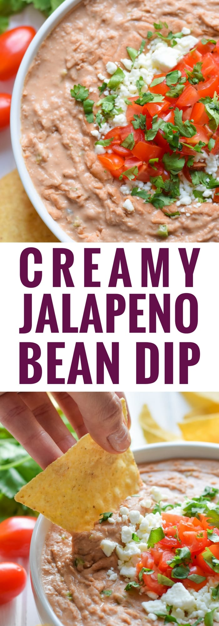 Mixed with diced jalapeños and Mexican spices like cumin and oregano, this Creamy Jalapeno Bean Dip is easy to make and is the perfect appetizer or snack any day of the week.