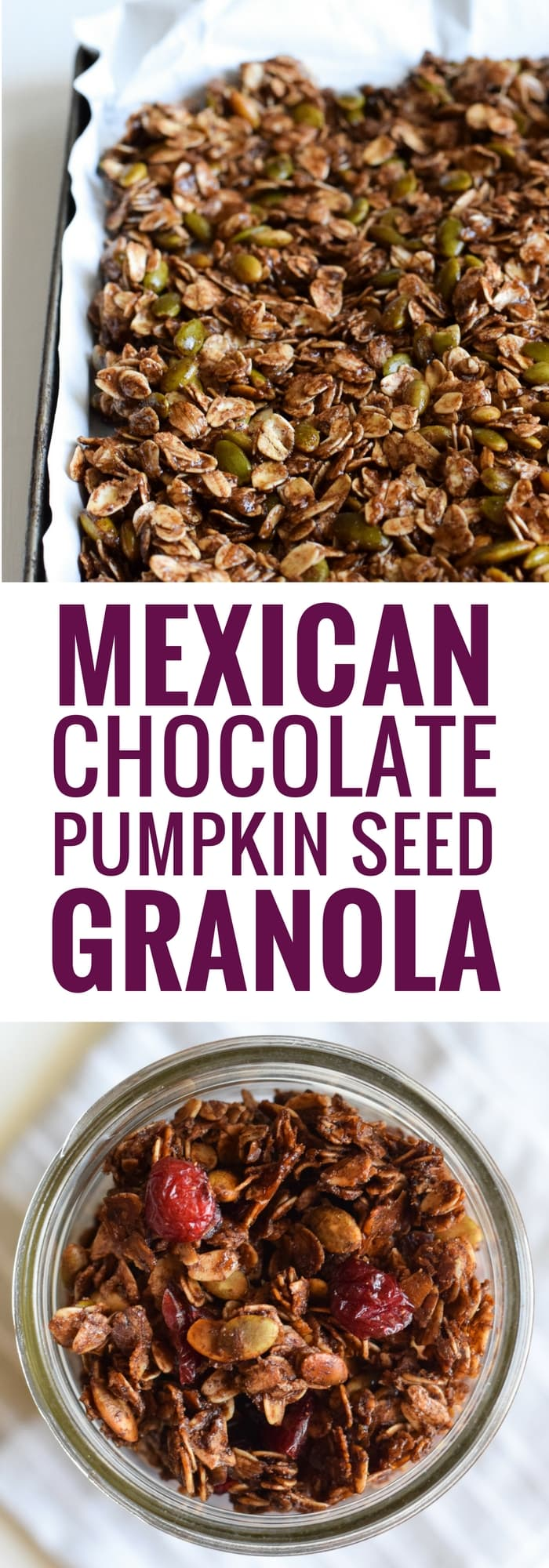 Made with wholesome rolled oats, Abuelita Mexican chocolate, pumpkin seeds and dried cranberries, this Mexican Chocolate Pumpkin Seed Granola is a delicious breakfast or snack any time of the day! (gluten free, vegetarian)