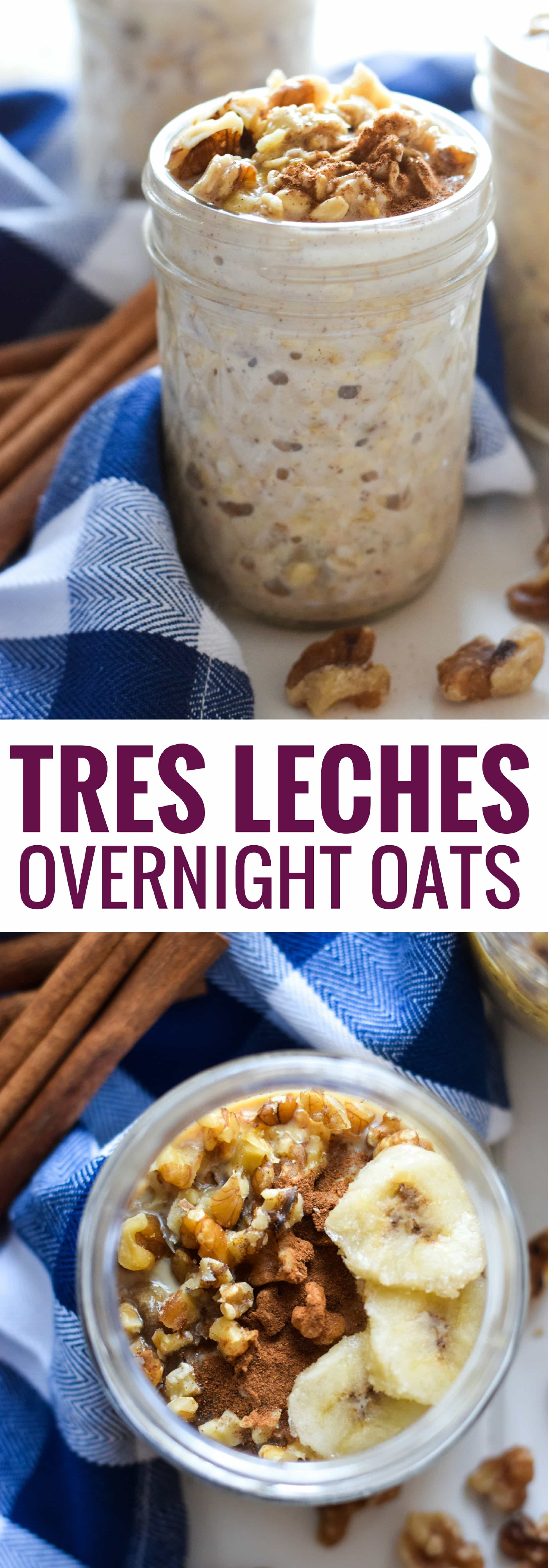 Soaked in three different kinds of milk and topped with chopped walnuts, banana slices and cinnamon, these 5-minute Mexican Tres Leches Overnight Oats are guaranteed to sweeten your mornings.
